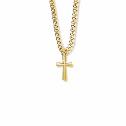 11/16 Inch 14K Gold Over Sterling Silver Flared Cross Necklace