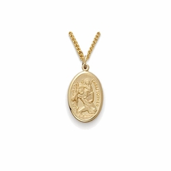 11/16 Inch Pewter Gold Plated Oval St. Christopher Medal, Patron of Travelers