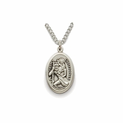 11/16 Inch Pewter Oval St. Christopher Medal, Patron of Travelers