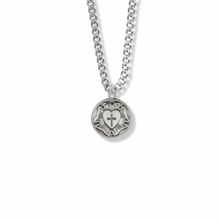 11/16 Inch Round Sterling Silver Diamond Engraved Lutheran Rose Medal
