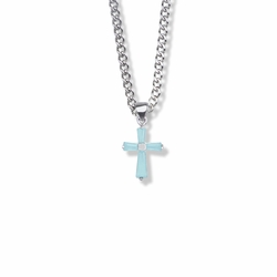 11/16 Inch Sterling Silver Aqua Cubic Zirconia Baguette Cross Necklace