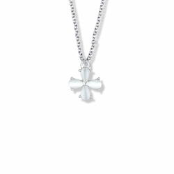 11/16 Inch Sterling Silver Cross with Pearl Accents Necklace