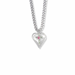 11/16 Inch Sterling Silver Enameled Filigree Cross and Heart Necklace