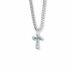 11/16 Inch Sterling Silver Enameled Rose and Pointed Ends Cross Necklace