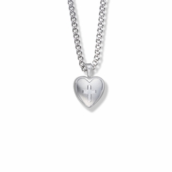 11/16 Inch Sterling Silver Engraved Cross on Heart Locket Necklace