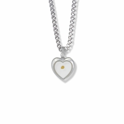 11/16 Inch Sterling Silver Mustard Seed Heart Necklace