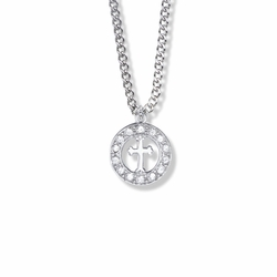 11/16 Inch Sterling Silver Open Circle Cross Necklace with Cubic Zirconia Stones