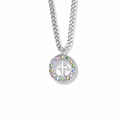 11/16 Inch Sterling Silver Open Circle Cross Necklace with Multi-Colored Cubic Zirconia Stones