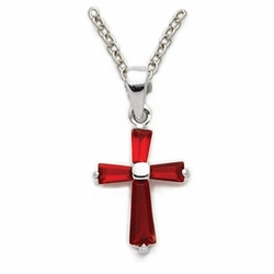 11/16 Inch Sterling Silver Ruby Cubic Zirconia Baguette Cross Necklace