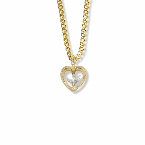11/16 Inch Two-Tone 14KT Gold Filled Dove and Open Heart Necklace