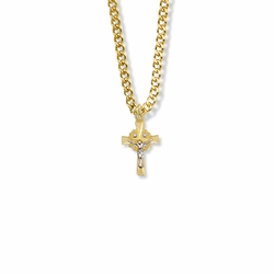 11/16 Inch Two-Tone 14K Gold Filled Filigree Crucifix Necklace