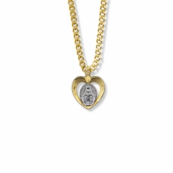 11/16 Inch Two-Tone 14K Gold Filled Pierced Heart Miraculous Medal