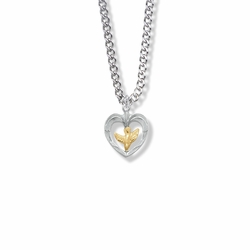 11/16 Inch Two-Tone Sterling Silver Dove and Open Heart Necklace