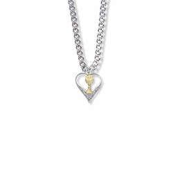 11/16 Inch Two-Tone Sterling Silver Open Heart and Chalice Necklace