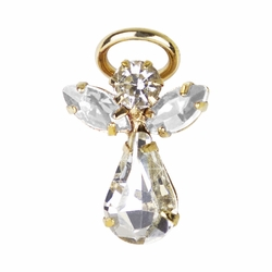 11/16 x 7/16 Inch Gold Plated April Crystal Birthstone Angel Lapel Pin