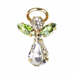 11/16 x 7/16 Inch Gold Plated August Peridot Birthstone Angel Lapel Pin