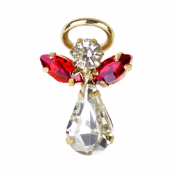 11/16 x 7/16 Inch Gold Plated July Ruby Birthstone Angel Lapel Pin