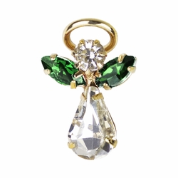 11/16 x 7/16 Gold Plated Inch May Emerald Birthstone Angel Lapel Pin