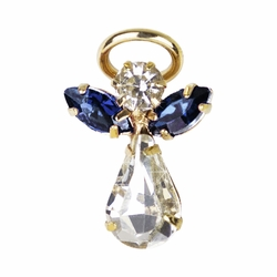 11/16 x 7/16 Inch Gold Plated September Birthstone Angel Lapel Pin