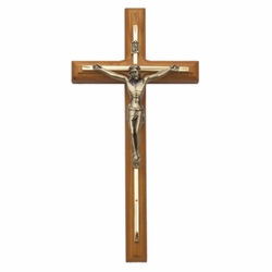 12 Inch Walnut and Engraved Brass Wall Crucifix with Antiqued Gold Pewter Corpus