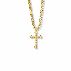 13/16 Inch 14K Gold Filled Budded Ends Cross Necklace
