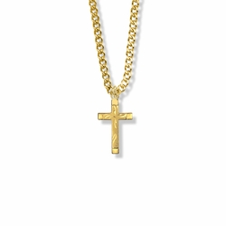 13/16 Inch 14K Gold Filled Engraved Cross Necklace