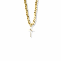 13/16 Inch 14K Gold Filled Modern Looking Cross Necklace with Cubic Zirconia Stone