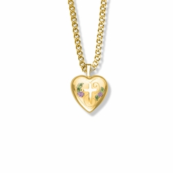 13/16 Inch 14K Gold Over Sterling Silver and Enameled Rose with Cross on Heart Locket Necklace