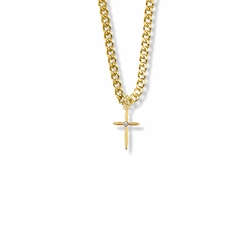 13/16 Inch 14K Gold Over Sterling Silver Pointed Ends Cross Necklace with Cubic Zirconia Stone
