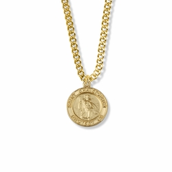 13/16 Inch 14K Gold Over Sterling Silver Round St. Christopher Medal, Patron Saint of Travelers