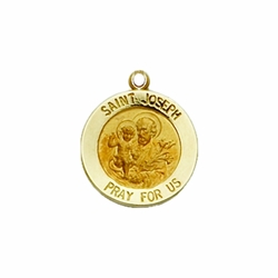 13/16 Inch 14K Gold Round St. Joseph Medal, Patron Saint of Carpenters and Fathers