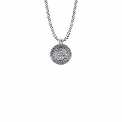 13/16 Inch Pewter Small Round Saint Christopher Medal, Patron Saint of Travelers