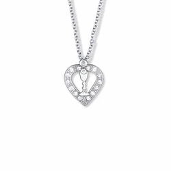 13/16 Inch Silver Plated and Crystal Glass Stones Open Heart Necklace with Chalice