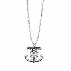 13/16 Inch Sterling Silver Anchor Crucifix Necklace