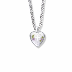 13/16 Inch Sterling Silver and Enameled Rose with Cross on Heart Locket Necklace
