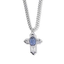 13/16 Inch Sterling Silver Blue Enameled Miraculous Medal Cross