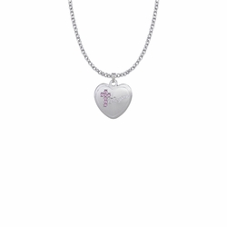 13/16 Inch Sterling Silver Daughter Pink CZ Stone Cross and Heart Medal