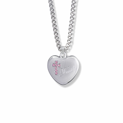 13/16 Inch Sterling Silver Faith Pink CZ Stone Ribbon and Heart Medal
