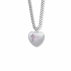 13/16 Inch Sterling Silver Grandma Pink CZ Stone Cross and Heart Medal