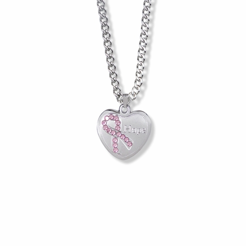 13/16 Inch Sterling Silver Hope Pink CZ Stone Ribbon and Heart Medal