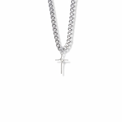 13/16 Inch Sterling Silver Modern Looking Cross Necklace with Cubic Zirconia Stone