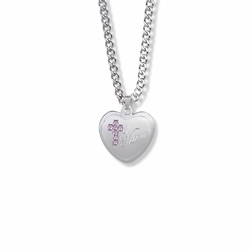 13/16 Inch Sterling Silver Mom Pink CZ Stone Cross and Heart Medal