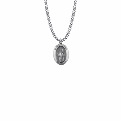 13/16 Inch Sterling Silver Oval St. Jude Medal, Patron Saint of Hopeless Causes and Desperation