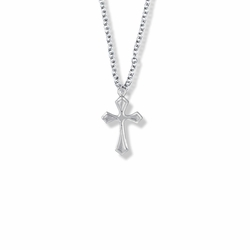 13/16 Inch Sterling Silver Pointed Ends Cross Necklace