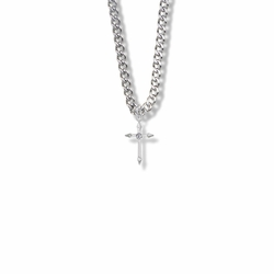 13/16 Inch Sterling Silver Pointed Ends Cross Necklace with Cubic Zirconia Stone