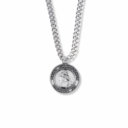 13/16 Inch Sterling Silver Round St. Christopher Medal, Patron of Travelers