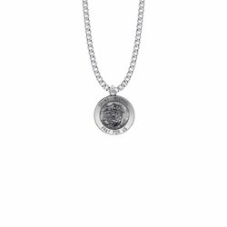 13/16 Inch Sterling Silver Round St. Michael Medal, Patron Saint of Police Officers