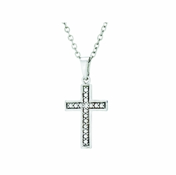 13/16 Inch Sterling Silver Glass Beaded Cross Necklace