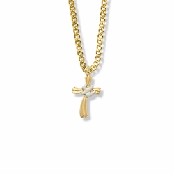 13/16 Inch Two-Tone 14K Gold Over Sterling Silver Dove on Ribbon Cross Necklace