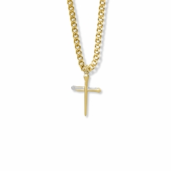 13/16 Inch Two-Tone 14K Gold Over Sterling Silver Nail Cross Necklace